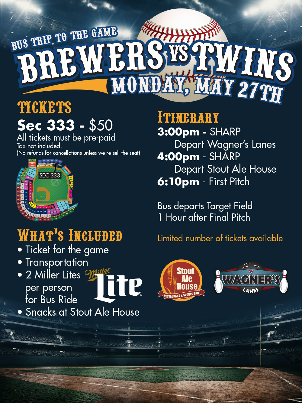 Brewers vs Twins Bus Trip
