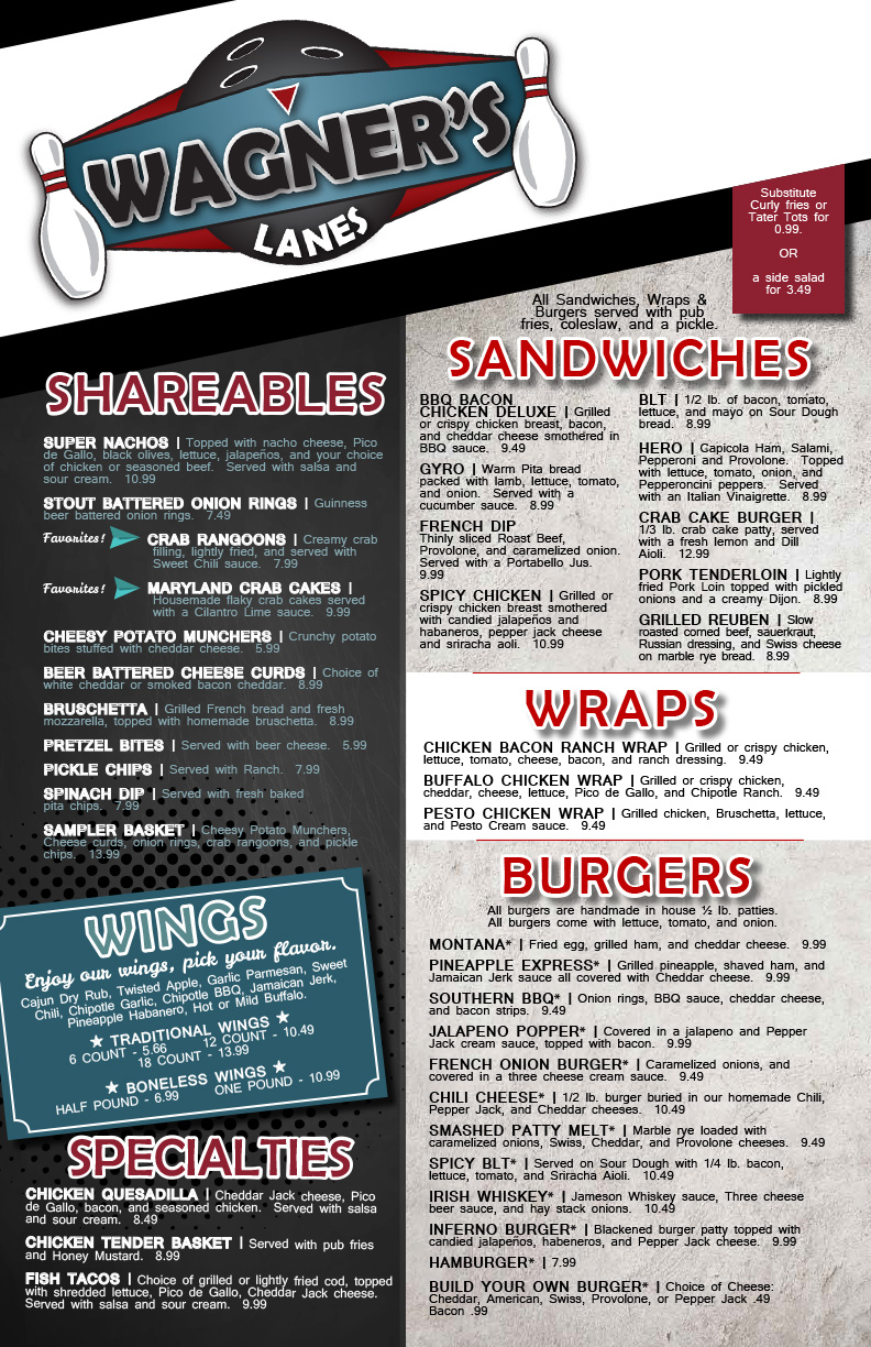 front page of wagner's menu